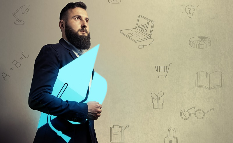 Bearded man with graduation hat  icon